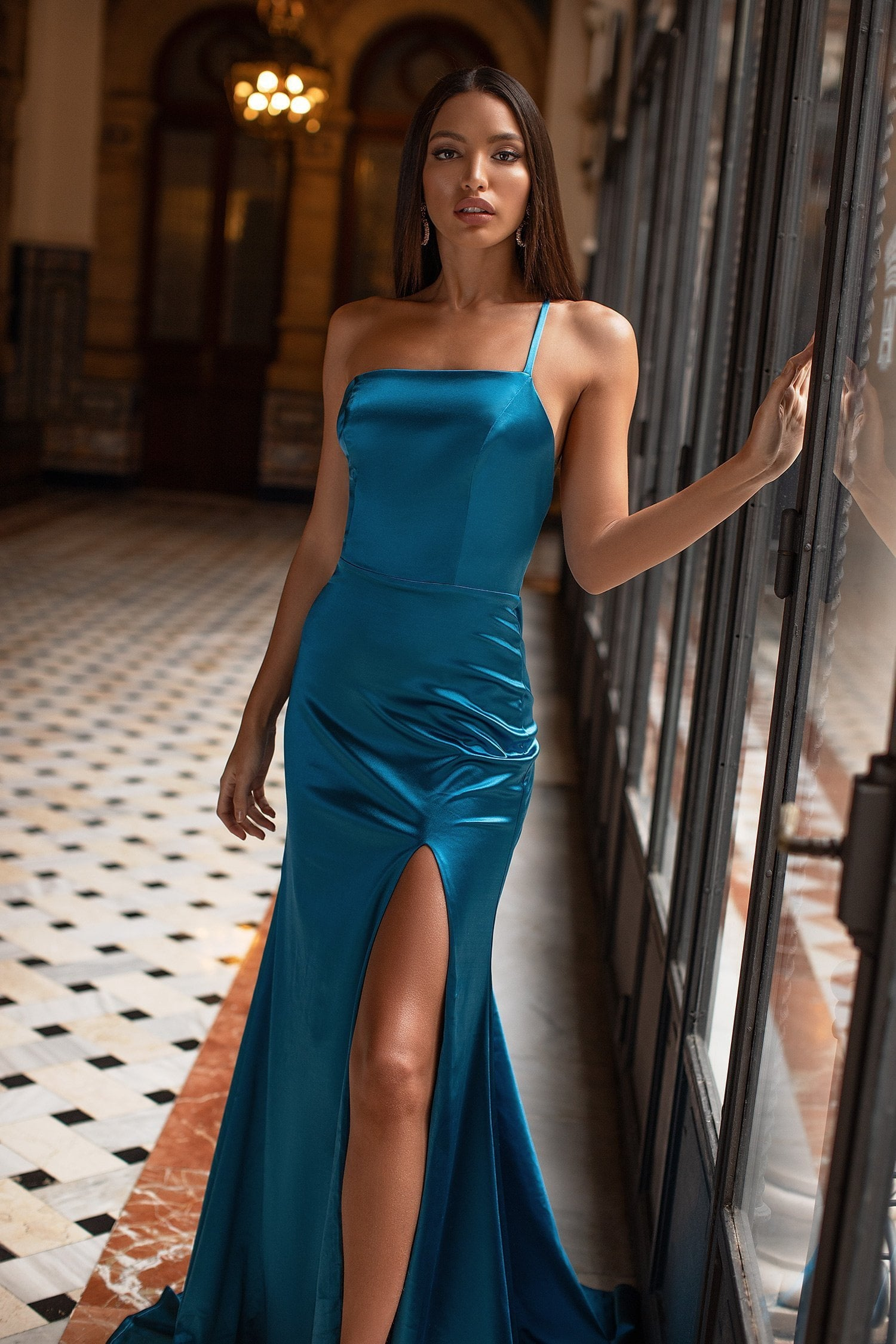 Rubi - Teal Satin Gown with Straight Neckline, Low Back & Side Slit