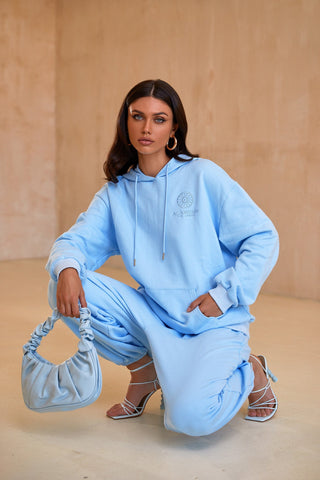 Kylie Oversized Sweatshirt - Light Blue Hoodie with Pockets & Logo