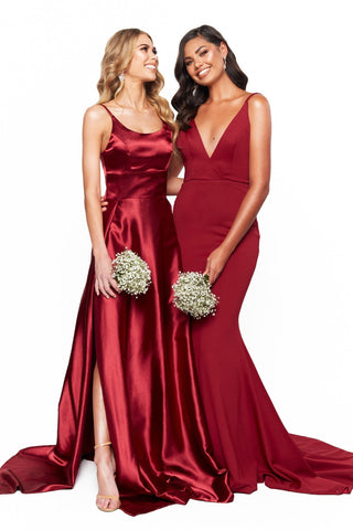 A&N Bridesmaids Jada V-Neck Backless Mermaid Ponti Gown - Burgundy