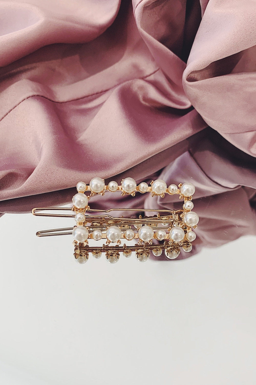 Gold Pearl Rectangle Hair Pin
