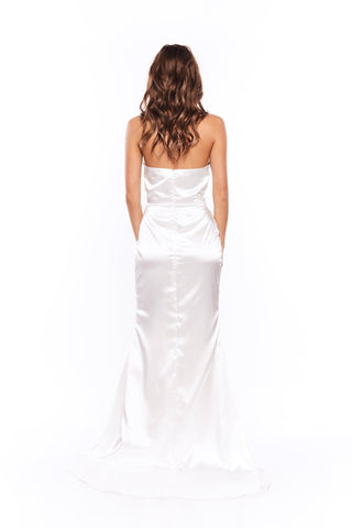 Adilah - White Satin Strapless Gown with Side Slit