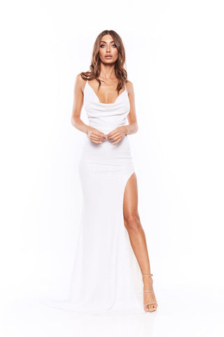 Andriana - White Sequin Gown with Cowl Neckline, Low Back & Side Slit