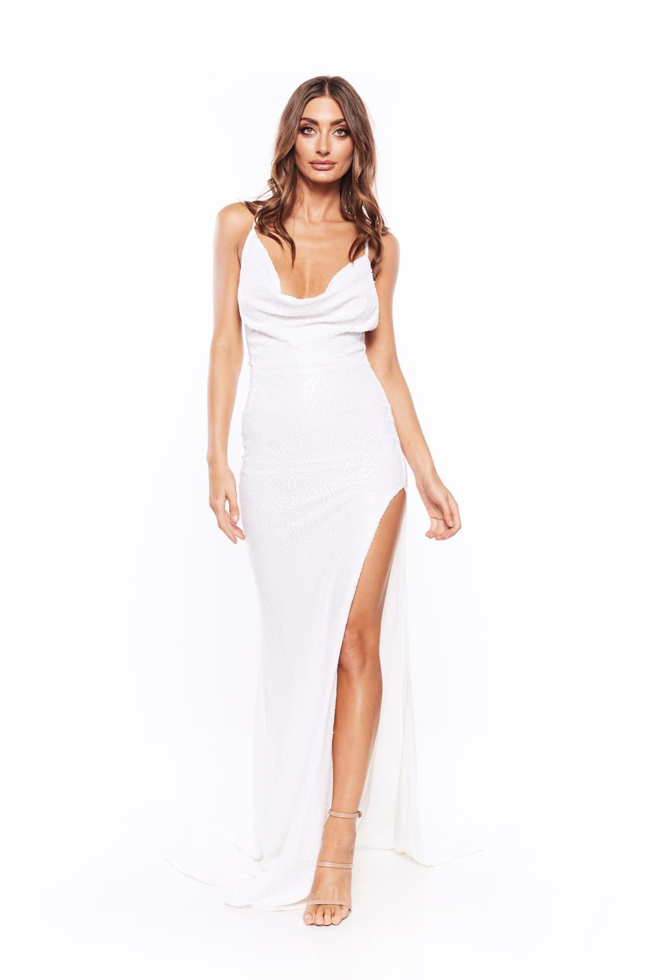 Andriana Sequins Gown - White V Neck Dress with Cowl Neck and Slit