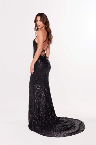 A&N Aniya- High Neck Dress with Lace up Back in Black Sequins