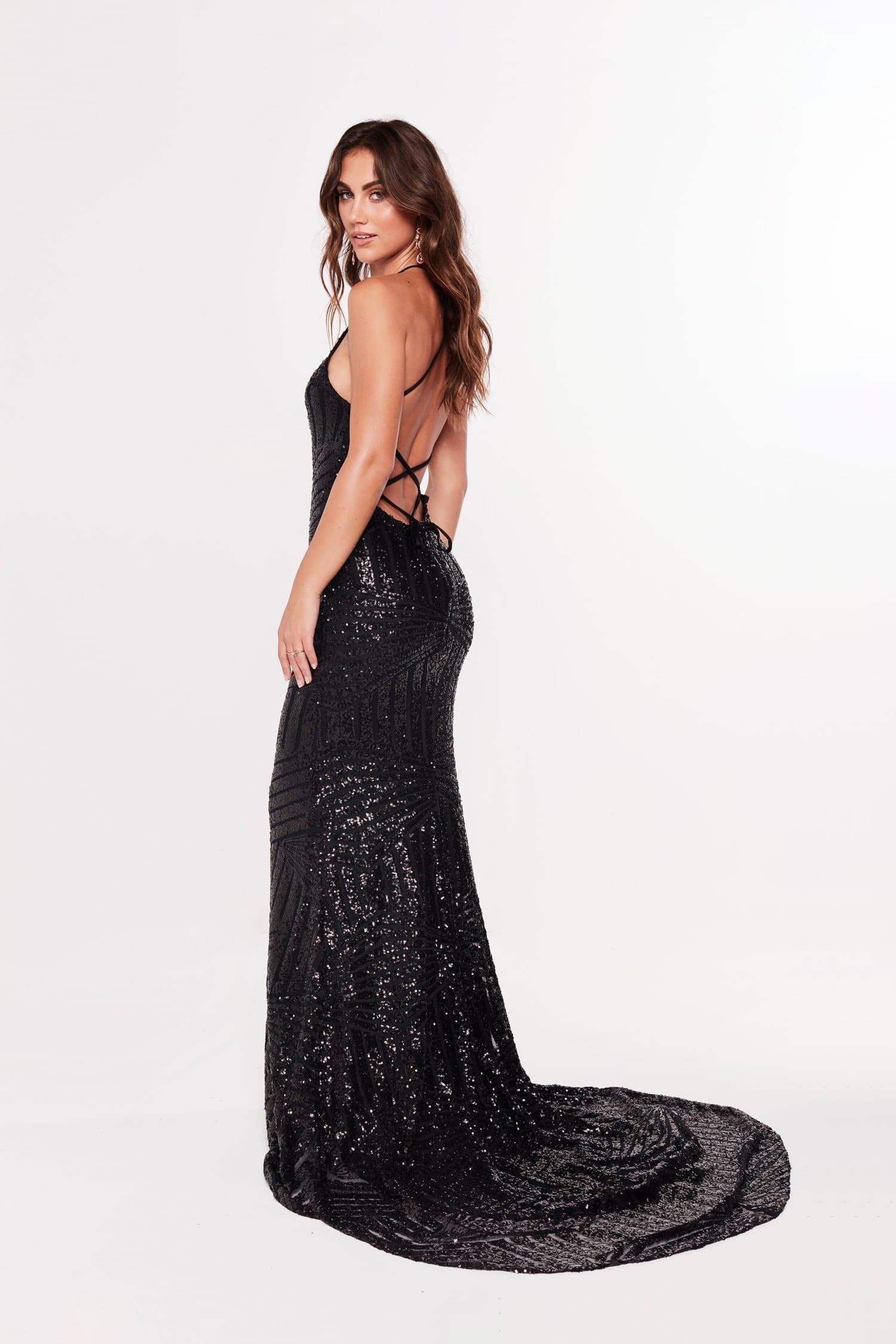A&N Luxe Aniya Black sequins high neck with lace up back prom dress
