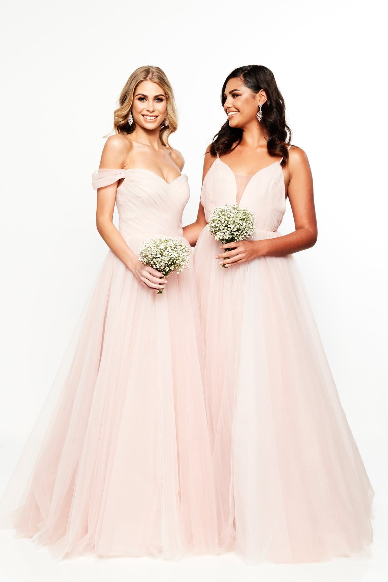 A&N Bridesmaids Lorna- Blush Off-Shoulder Tulle Gown