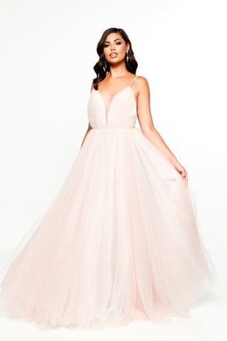 A&N Bridesmaids - Blush Marina Tulle Gown with Low Back