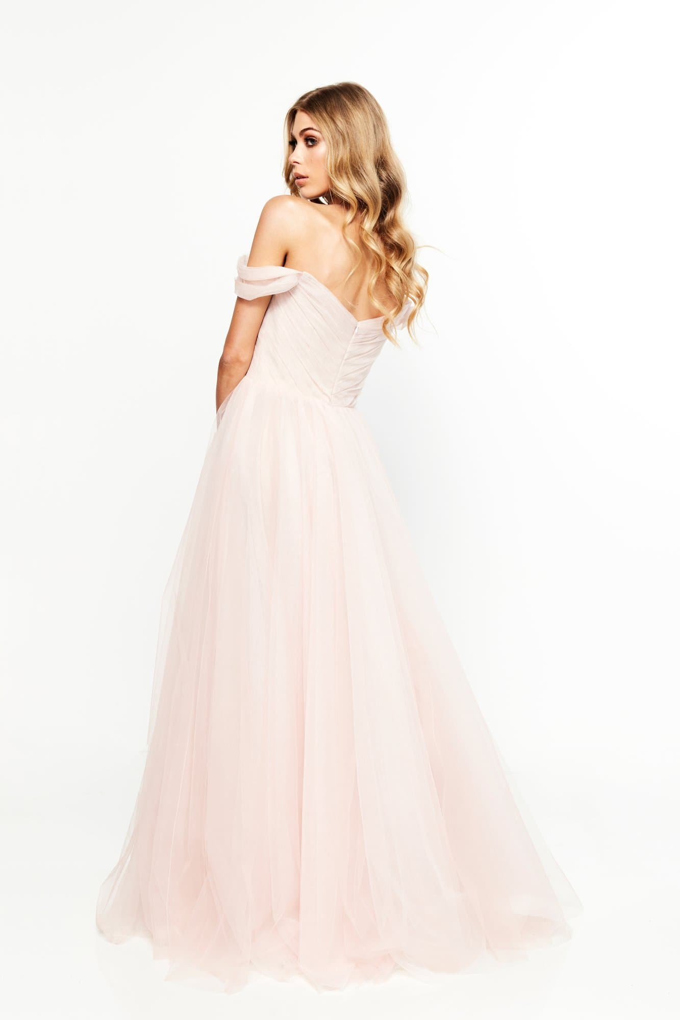 d8d10e92a553 A&N Bridesmaids Lorna- Blush Off-Shoulder Tulle Gown – A&N Luxe Label