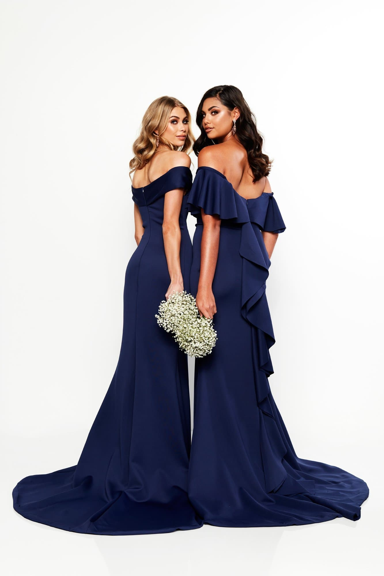 A&N Bridesmaids - Navy Evie Off-Shoulder Gown with Frill Detail