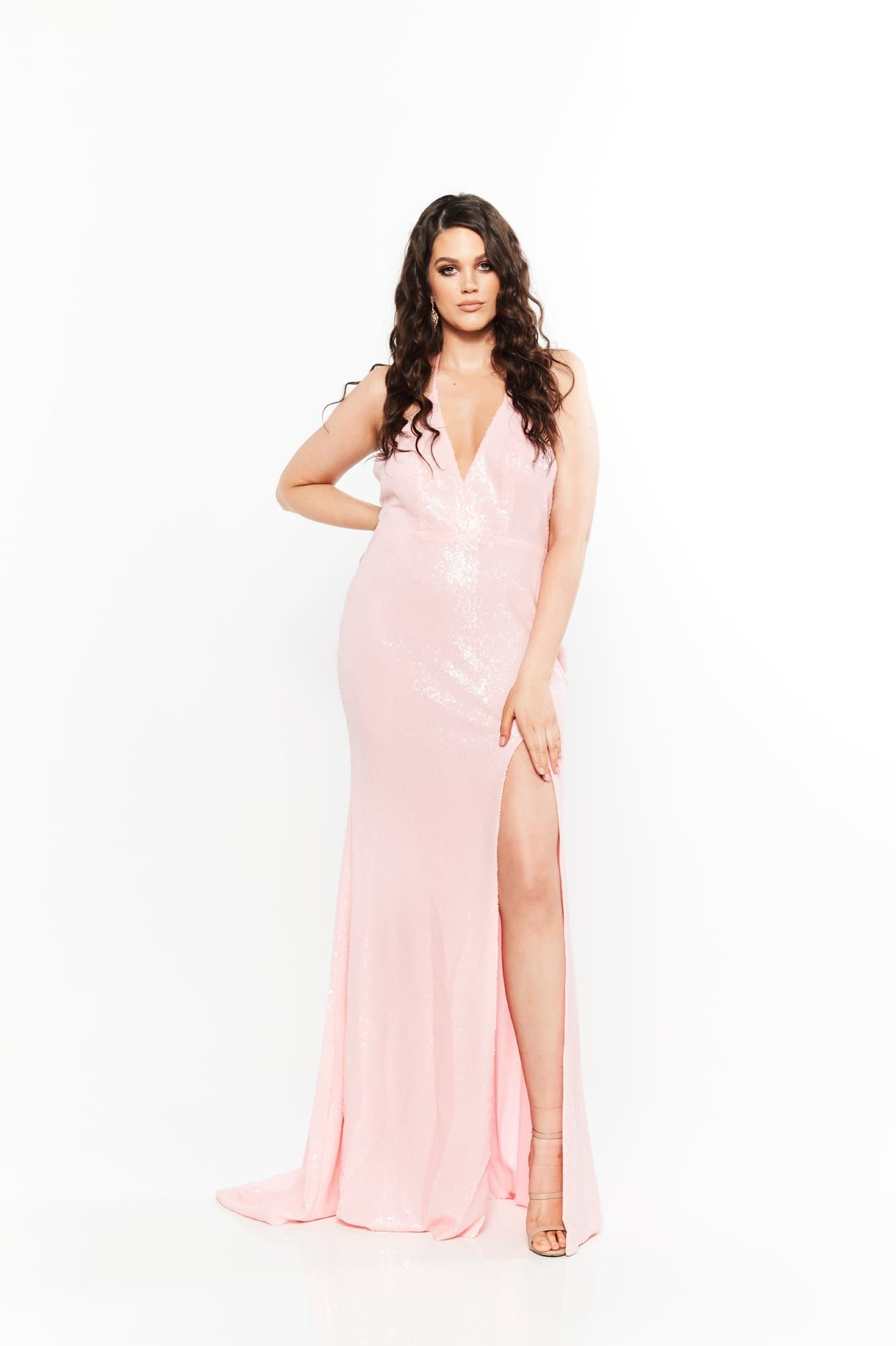 A&N Curve - Pink Kylie Sequinned Gown with Slit