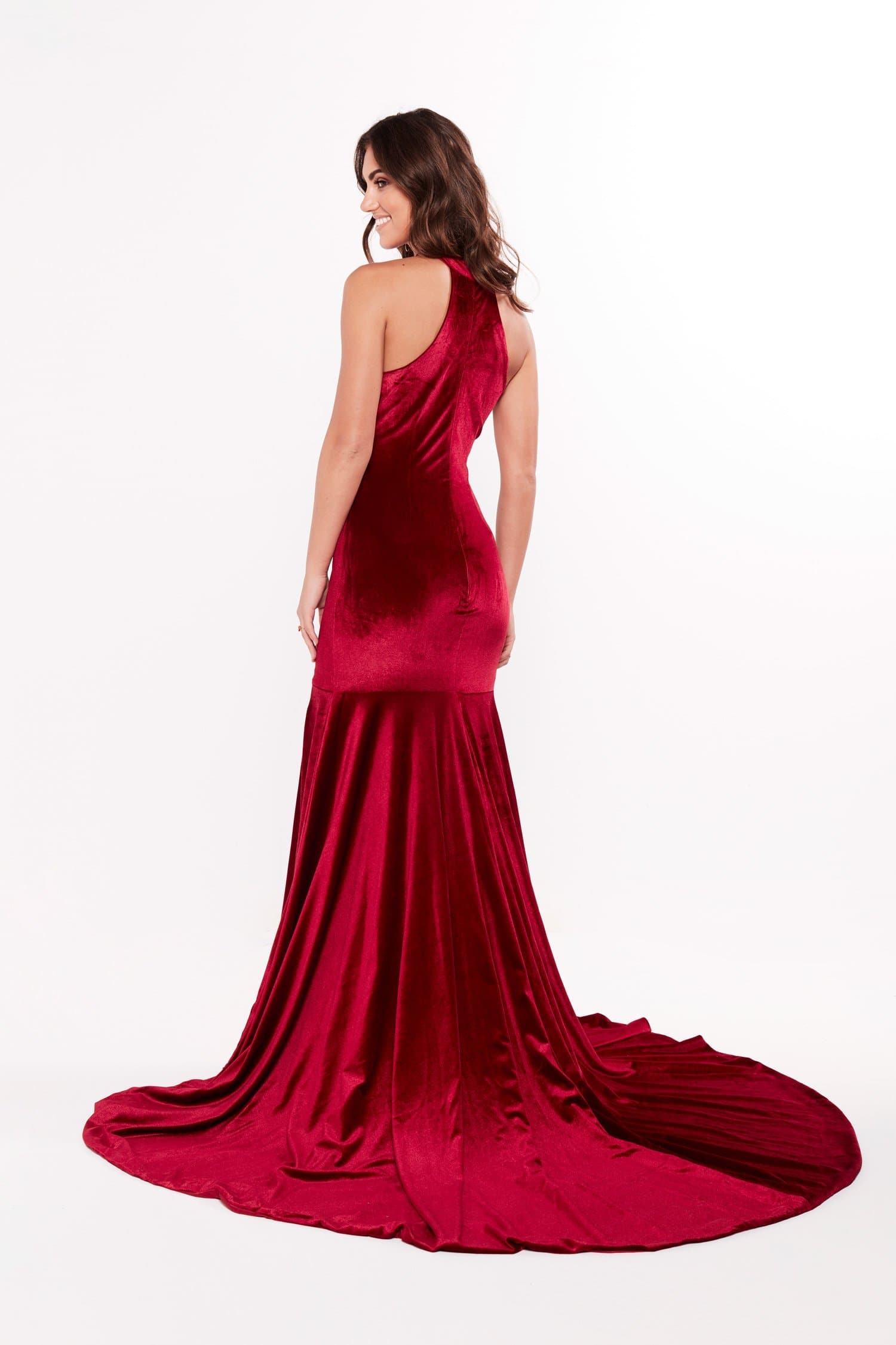 A&N Destiny - Deep Red Velvet Gown with Mermaid Train