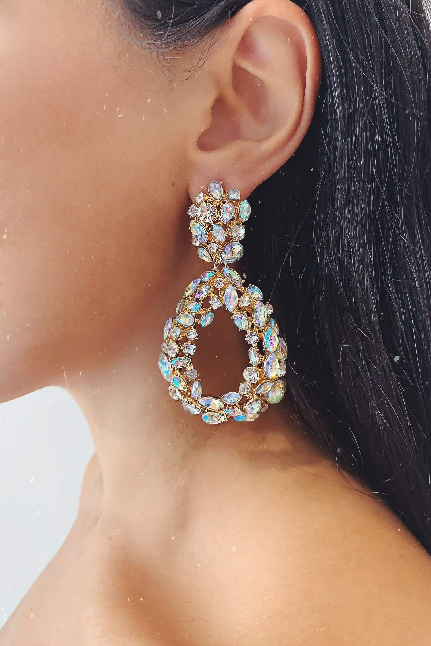 Glazori Chiara Gold Drop Statement Earrings with Aurora Quartz