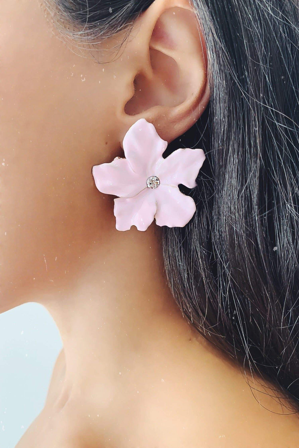 Glazori Akira Pink Flower Stud Earrings