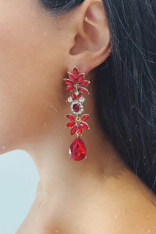 Glazori Lily Gold Drop Earrings with Red Crystals