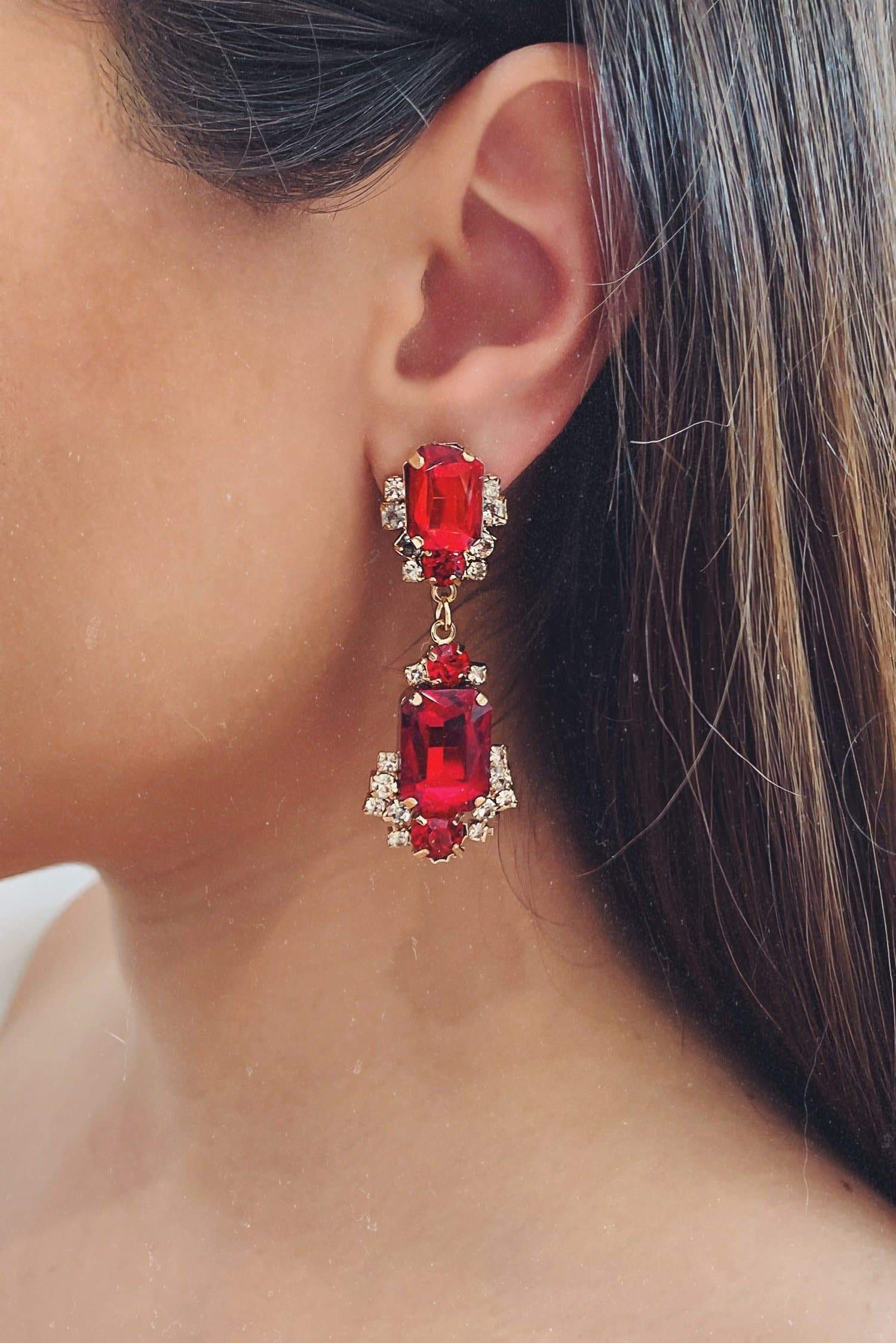 Glazori Cassie Red Crystal Earrings