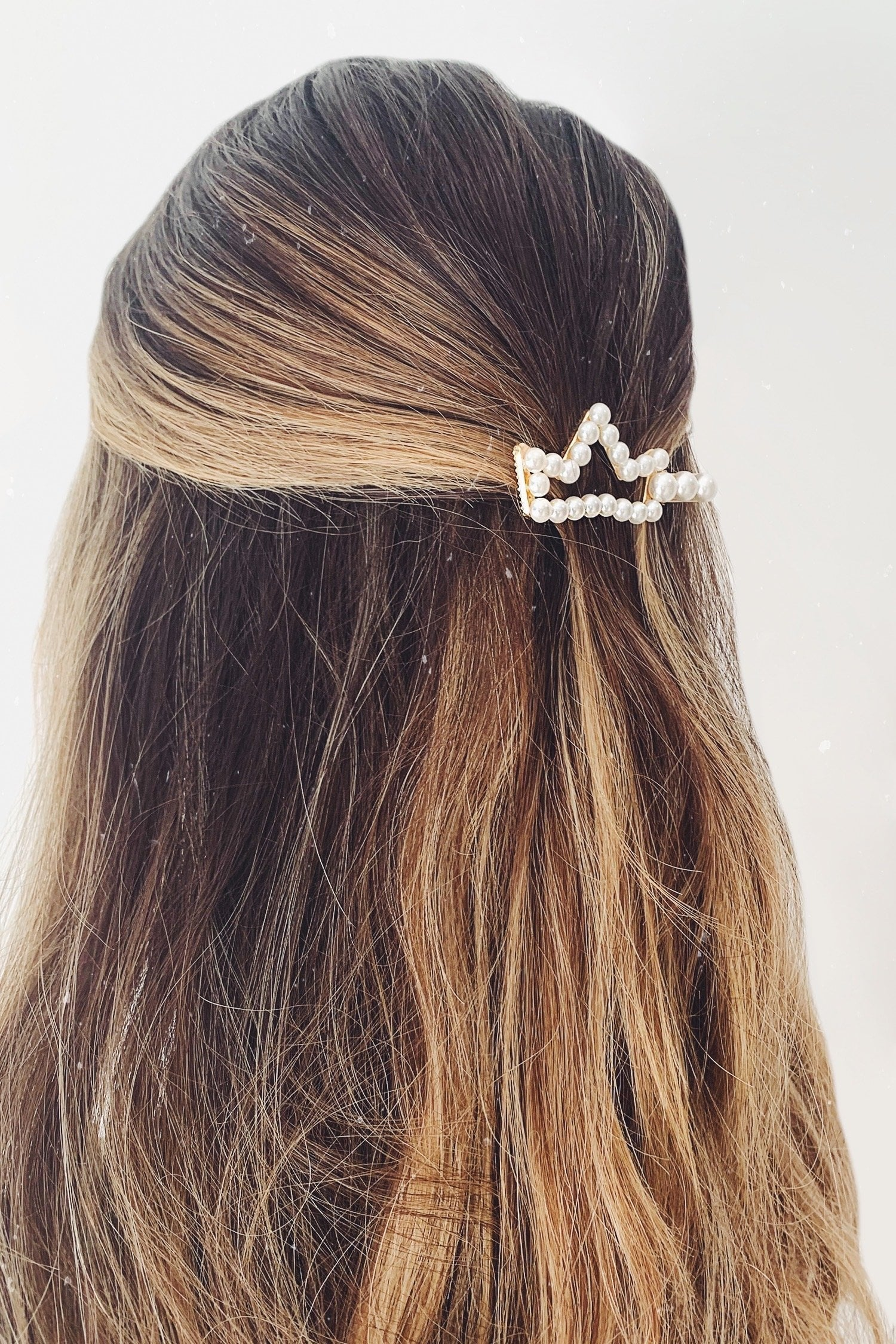 Gold Pearl Crown Hair Clip