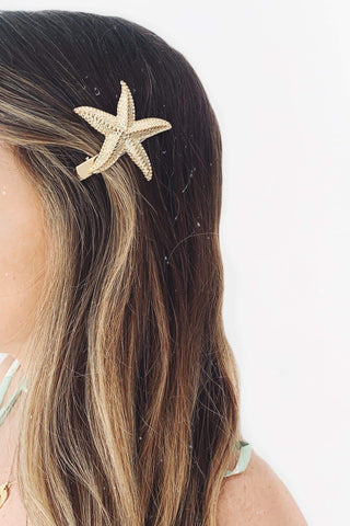 Gold Starfish Large Hair Clip