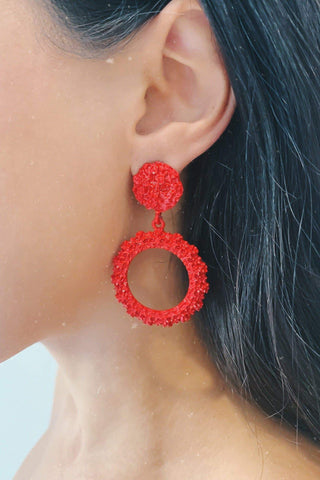 Glazori Felicity Red Textured Circle Drop Earrings