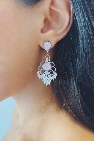 Glazori Elyse Silver Drop Earrings with Baby Pink Crystals