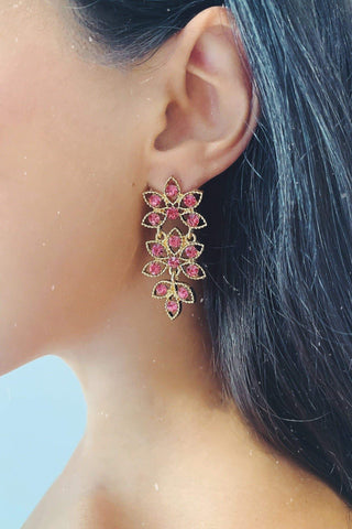 Glazori Ivelina Gold Drop Earrings with Pink Crystals