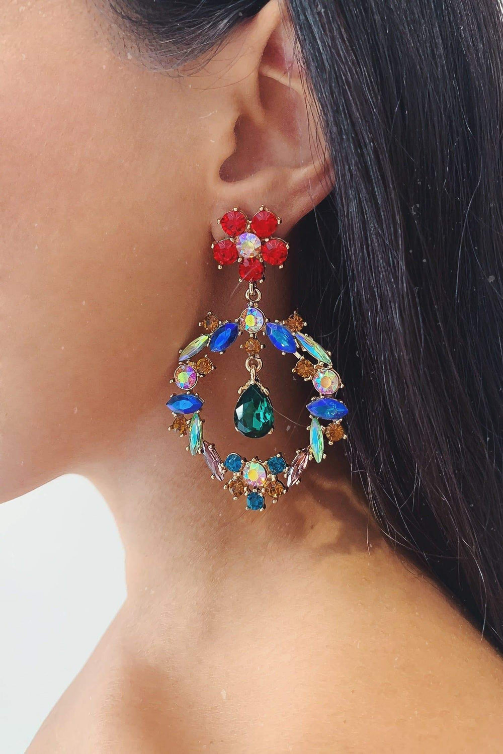 Glazori Julieta Gold Drop Earrings with Multicoloured Crystals