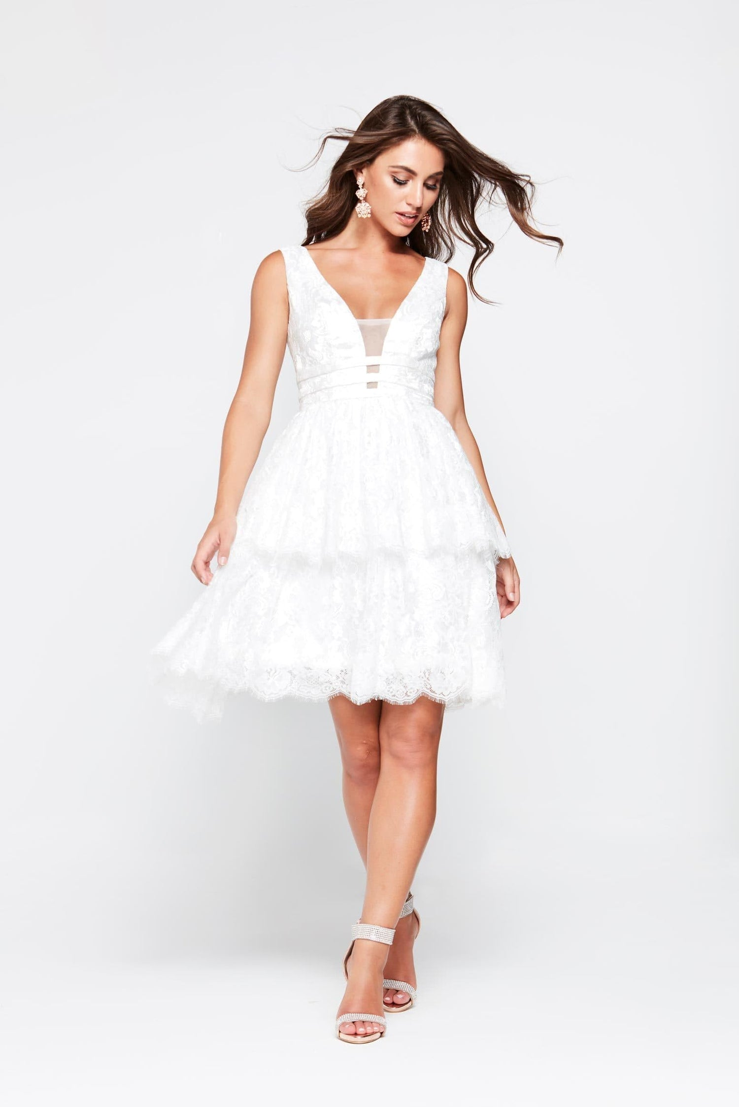 A&N Aimee- White Lace Layered Cocktail Dress with Back Detail