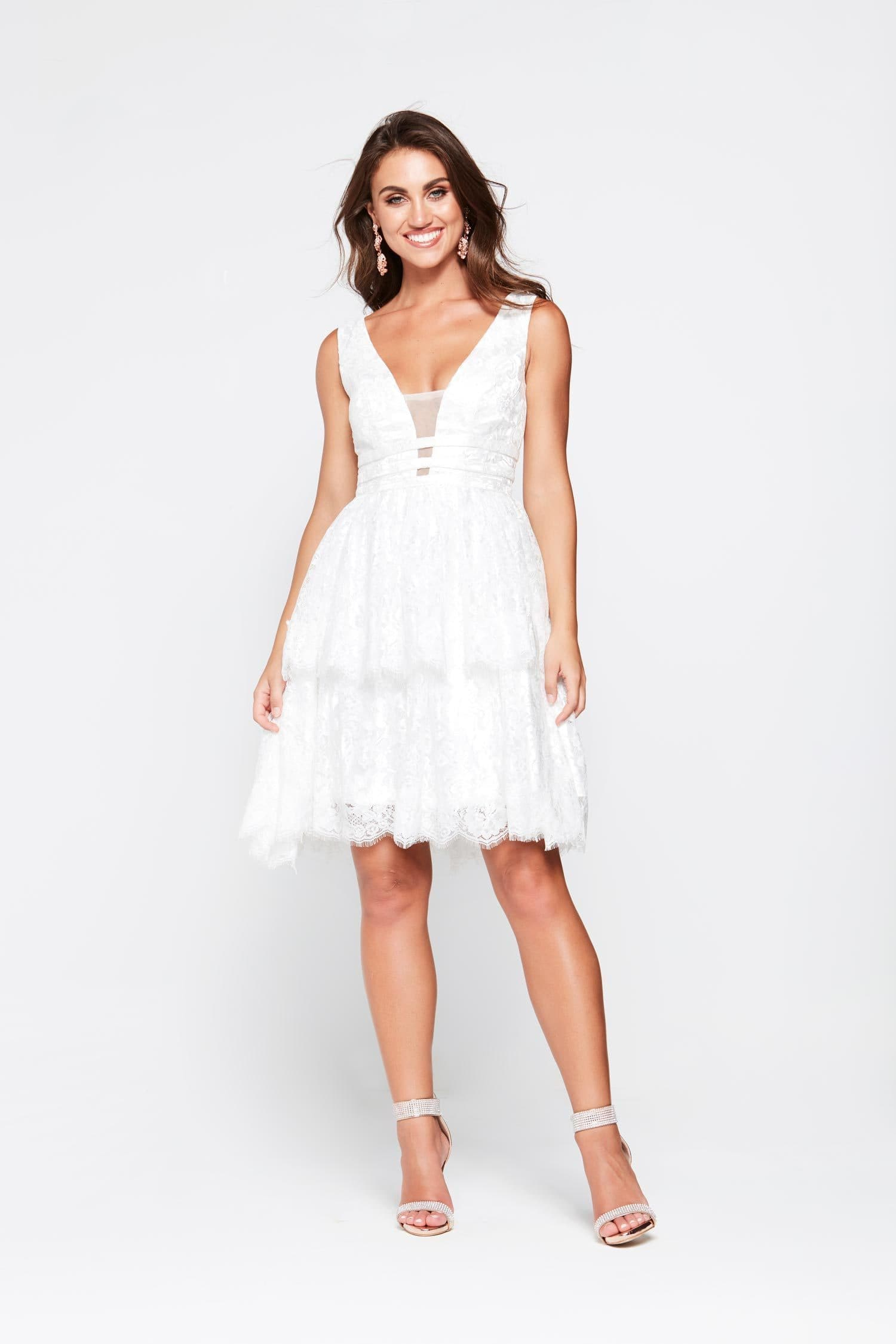 A&N Aimee Mini Gown - White Lace Frills V Neck Low Back Cocktail Dress