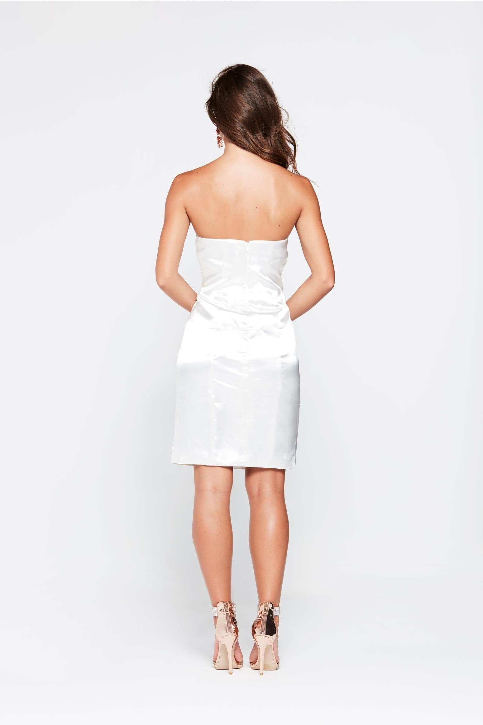 Aino Mini Cocktail Dress - White Satin Strapless Dress A Line Skirt