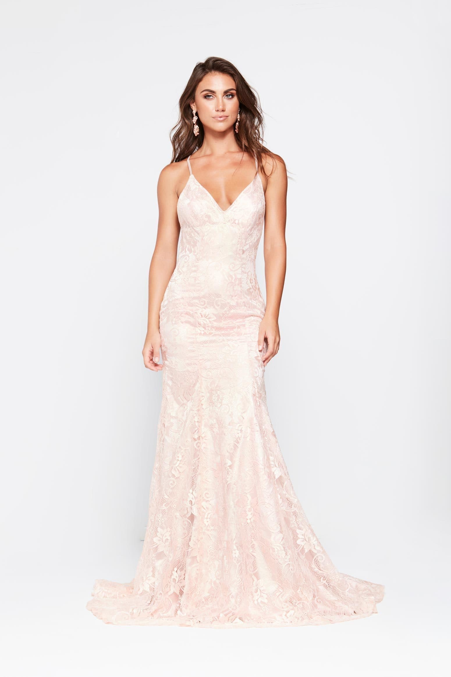A&N Luxe Aisha Gown - Blush Lace Up Mermaid Gown with Low Back