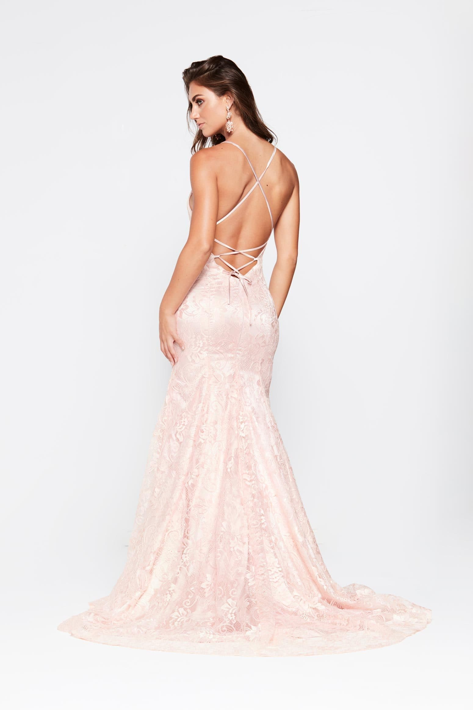 A&N Aisha Gown - Blush Mermaid Gown with Lace up Back