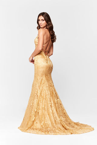 A&N Aisha - Gold Lace Gown with Tie Up Back and Mermaid Train