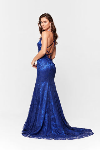 A&N Aisha - Royal Blue Lace Gown with Tie Up Back and Mermaid Train