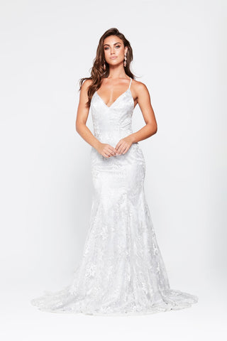 A&N Aisha - Silver Lace Gown with Lace Up Back and Mermaid Train