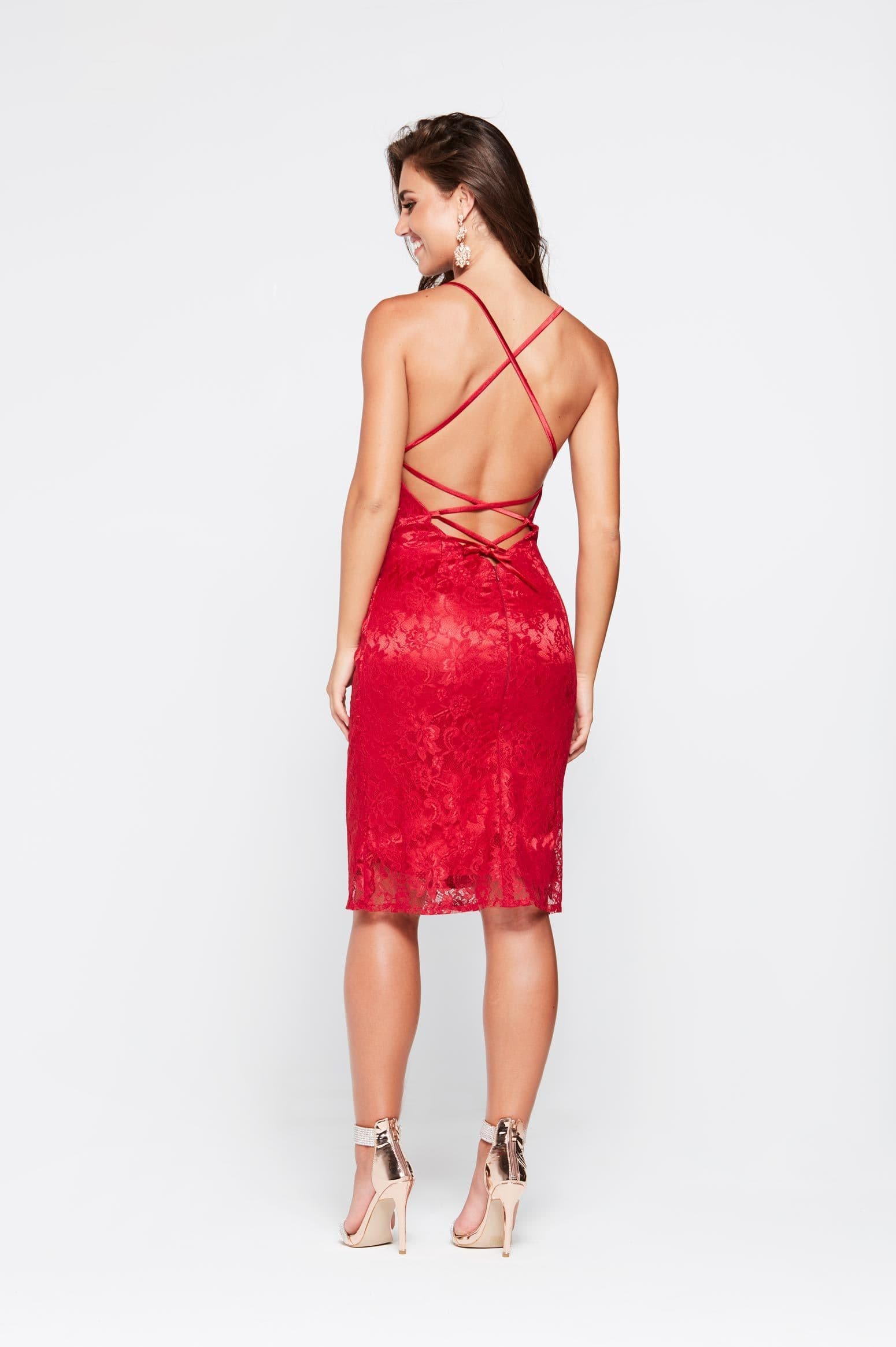 A&N Aisha- Deep Red Lace Cocktail Dress with A Line Skirt and Low Back