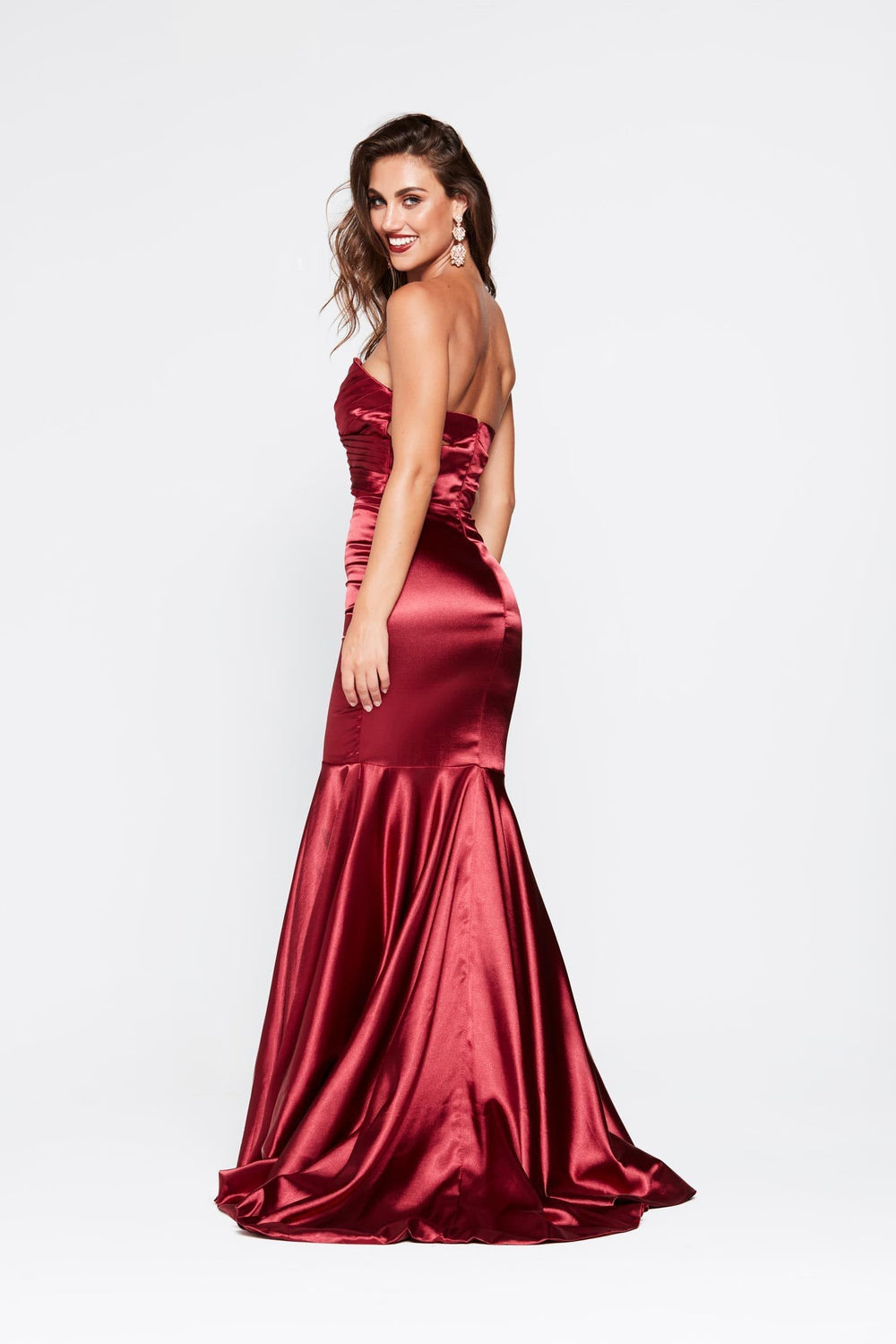 b656ef6a57 ... A N Akira - Deep Red Satin Dress with Pleated Bodice and Mermaid Train