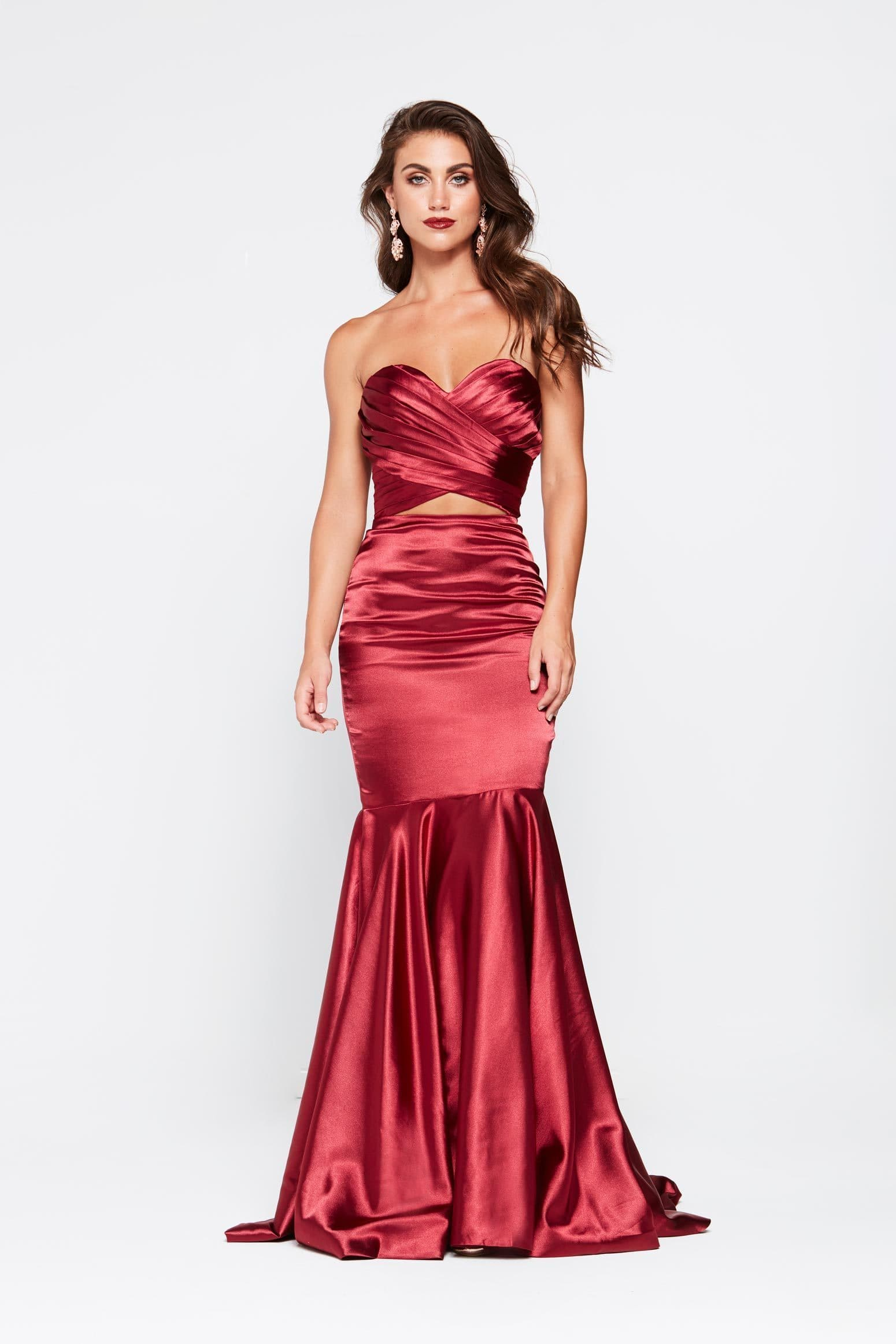 A&N Akira - Deep Red Satin Dress with Pleated Bodice and Mermaid Train