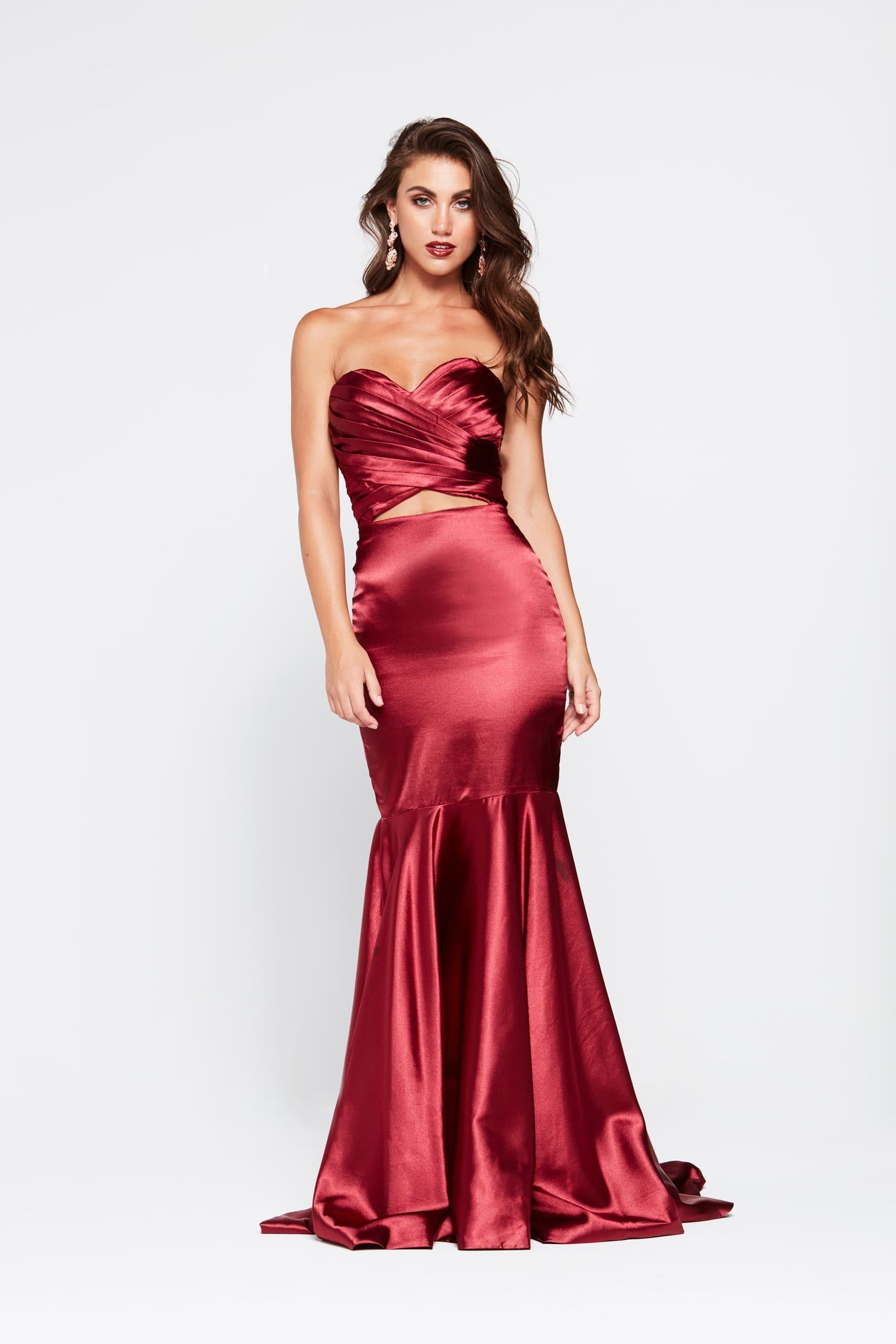 0ce1c4503a12 A N Akira - Deep Red Satin Dress with Pleated Bodice and Mermaid Train ...