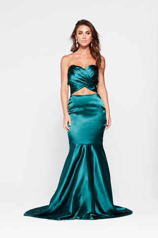 A&N Akira - Strapless Teal Satin Gown with Mermaid Train
