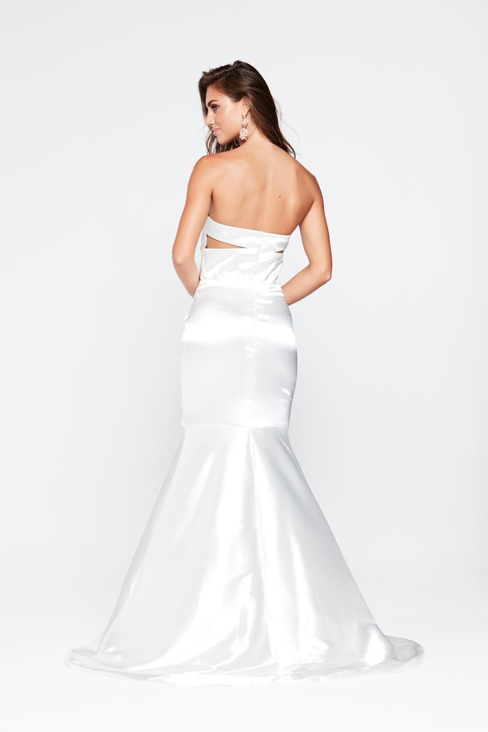 A&N Akira - White Satin Dress with Pleated Bodice and Mermaid Train