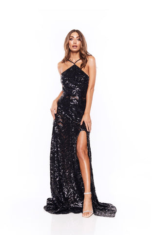 Almase - Navy Halter Neck Gown with Low Back & Slit