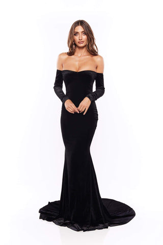 Cadencia - Black Long Sleeve Velvet Gown with Mermaid Train