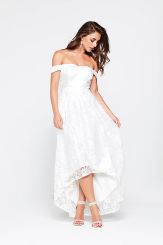 A&N Alda - White Off the Shoulder Lace Dress with Hi-Low Hem