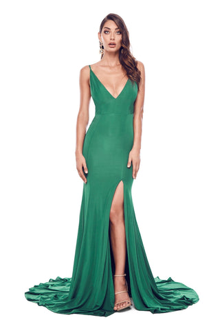Alyona - Emerald Jersey Gown with V-Neckline & Open Back Detail