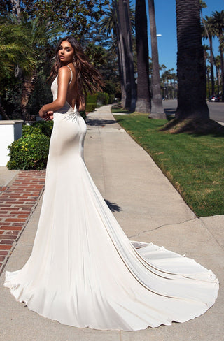 Alyona - White Jersey Gown with V-Neck & Open Back Detail