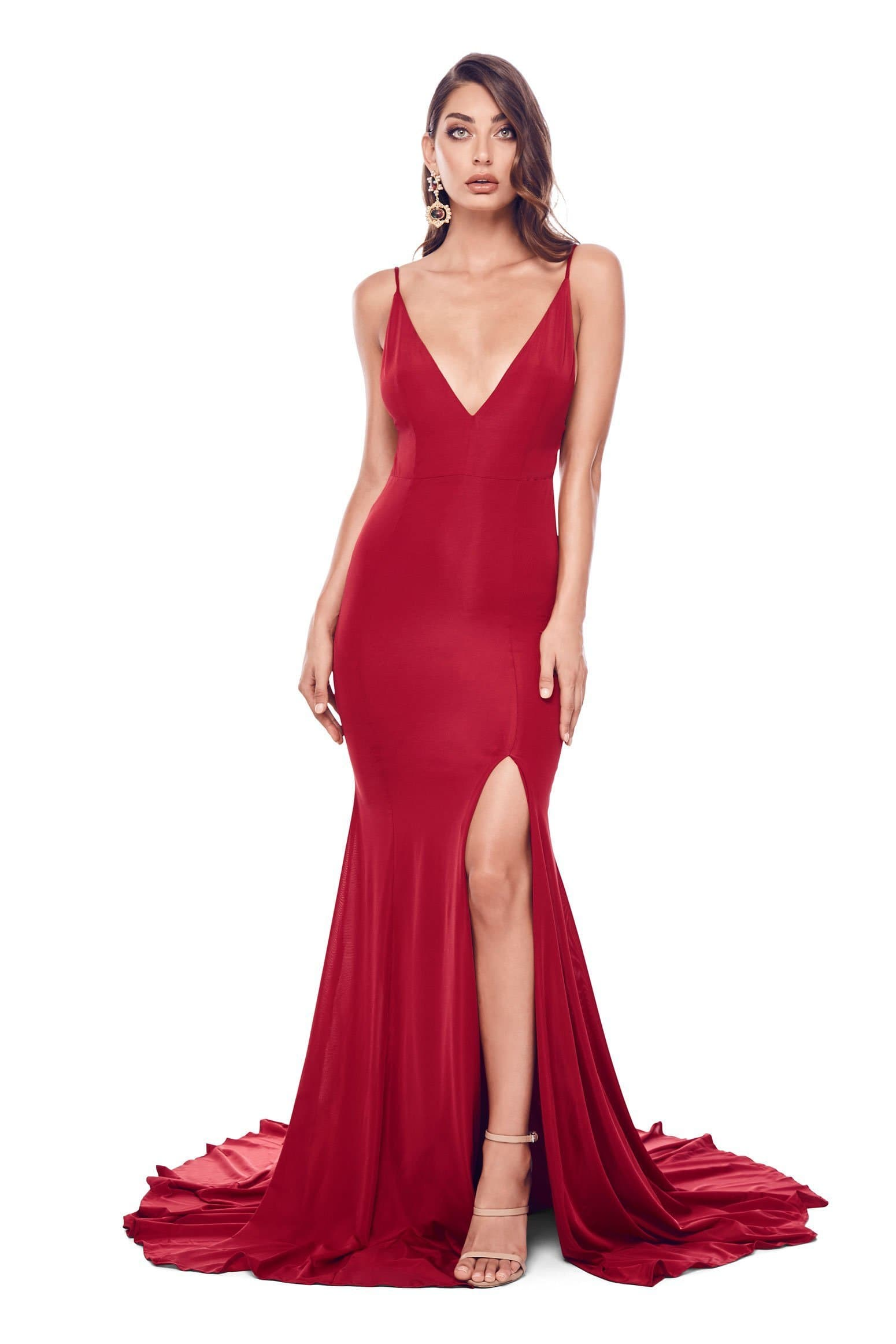 Alyona - Wine Red Jersey Gown with V-Neckline & Open Back Detail
