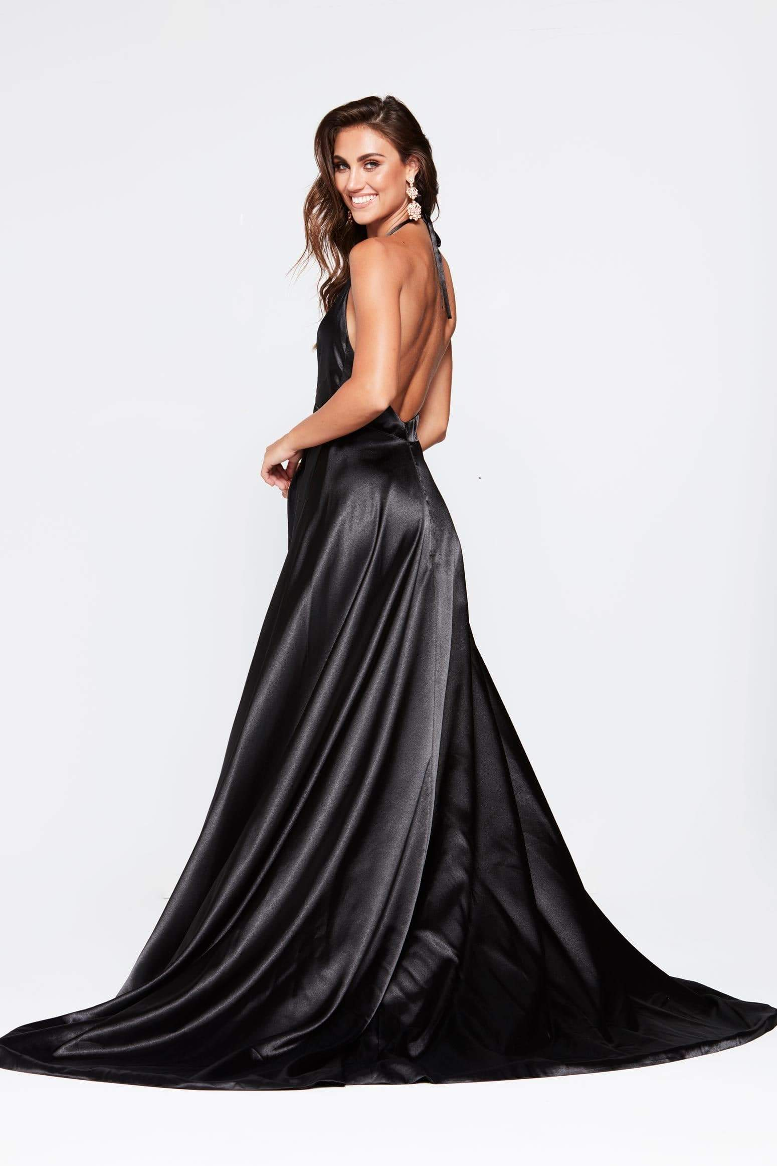 A&N Amani - Black Satin Dress with Plunge Neck and Side Split