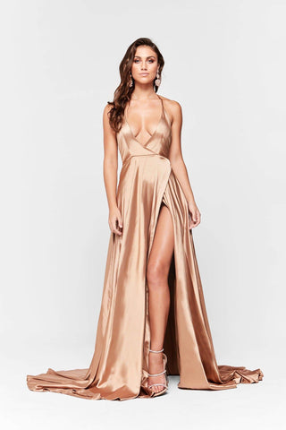 A&N Amani - Gold Satin Formal Dress with Side Split and Low Back