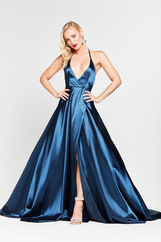 A&N Amani - Navy Satin Gown with Side Slit and Low Back