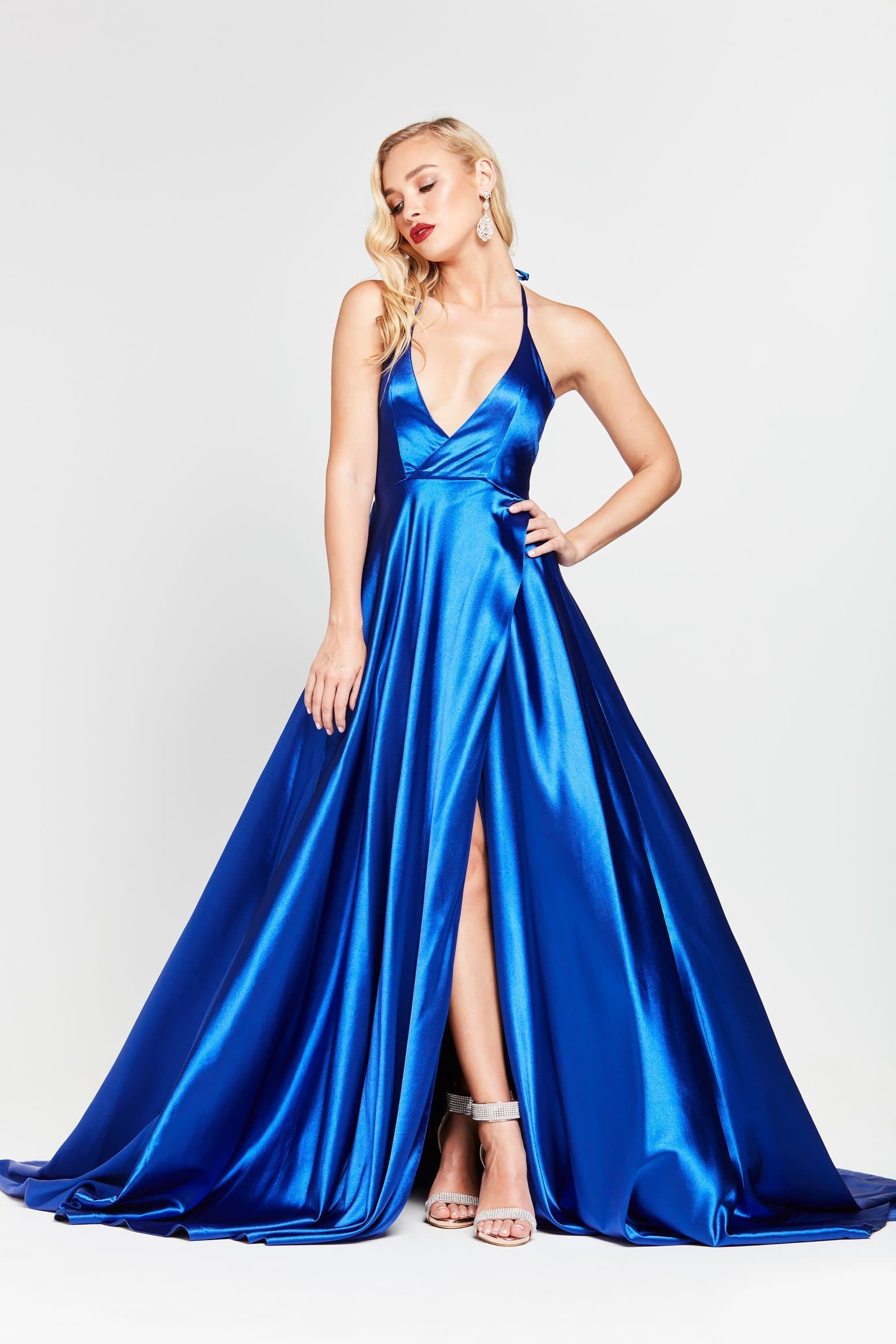 A&N Amani - Royal Blue Satin Gown with Side Slit and Low Back