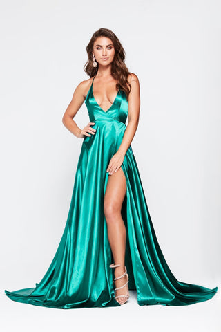A&N Amani - Teal Satin Gown with Side Slit and Low Back